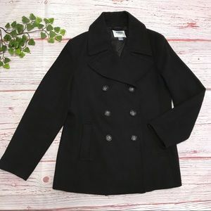 OLD NAVY Double Breasted Wool Blend Coat BLK